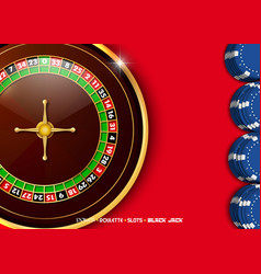 Casino roulette wheel with casino chips vector