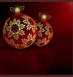 Christmas red background with balls vector