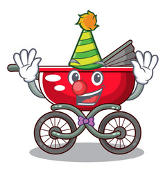 clown modern baby stroller isolated against mascot vector image