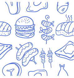 Collection of food various doodle set vector