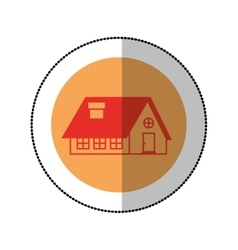 color image middle shadow sticker in circle with vector image