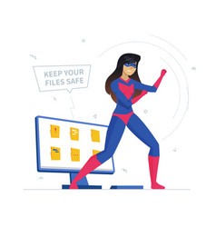 Computer privacy protection metaphor flat vector