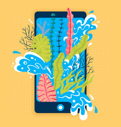 concept of travel seaweed and sea wave in phone vector image