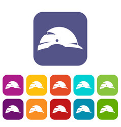 Construction helmet icons set vector
