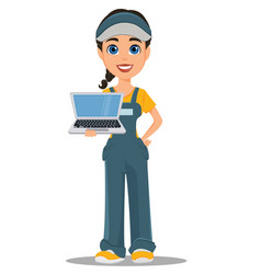 Courier woman holding laptop professional fast vector