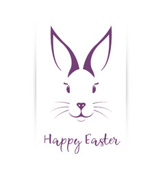 cute muzzle easter bunny greeting card vector image