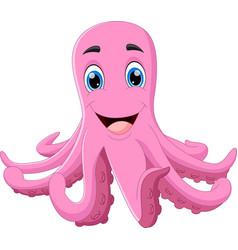 Cute octopus cartoon posing and smiling vector
