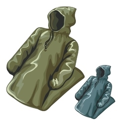 Dense rain jackets with hoods vector