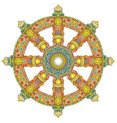 Dharma wheel or dharmachakra theach and walk to vector