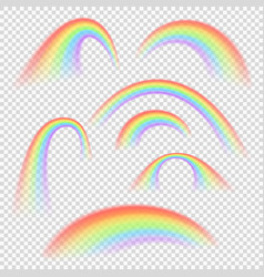 different rainbow light shapes isolated vector image
