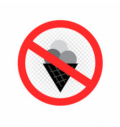do not eat ice cream sign icon vector image