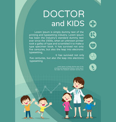 doctor woman and kids background poster portrait vector image