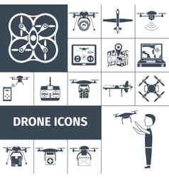 Drone Icons Black vector