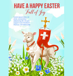 Easter holiday lamb with cross greeting card vector