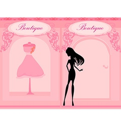 Elegant shopping woman silhouette vector image