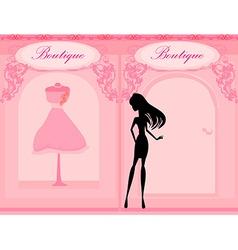Elegant shopping woman silhouette vector image