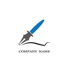 Feather pen logo template vector
