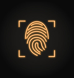 fingerprint scan icon in glowing neon style vector image