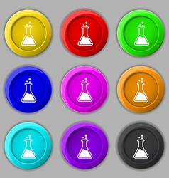Flask icon sign symbol on nine round colourful vector