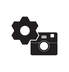 Flat icon in black and white camera vector