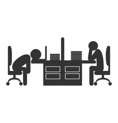 Flat office icon with fizzle out workers isolated vector image