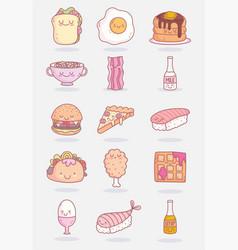 food cute characters menu restaurant icons vector image