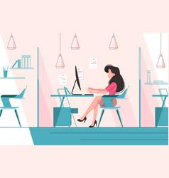 Girl working in office vector