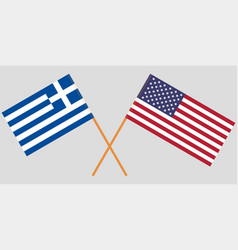 Greece and usa crossed greek and american flags vector