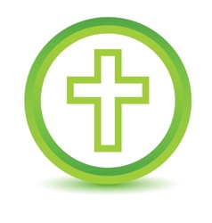 Green Protestant Cross icon vector