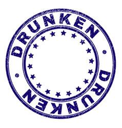 Grunge textured drunken round stamp seal vector