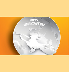 halloween background with witch crow moon and vector image