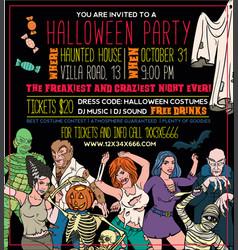 Halloween costume party invitation flyers vector