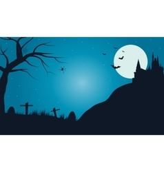 Halloween tomb with full moon vector image