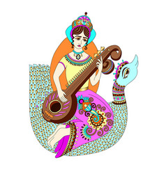 Hand drawing of indian hindu goddess saraswati vector