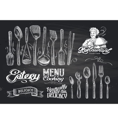 Hand drawn restaurant sketch and cafe vector