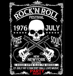Hand drawn rock festival poster rock and roll sign vector