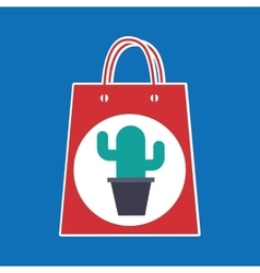 Hand holds bag gift cactus design vector