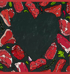 Heart of meat steaks on chalkboard vector