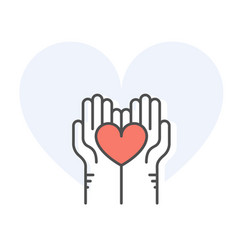 helping hands holding heart - charity donation vector image