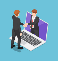 isometric businessmen having online agreement and vector image
