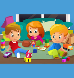 Kids playing with their toys vector