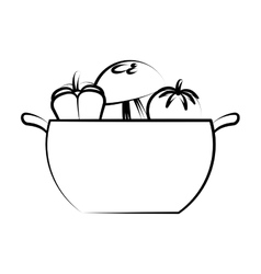 Kitchen pot with healthy food isolated icon vector