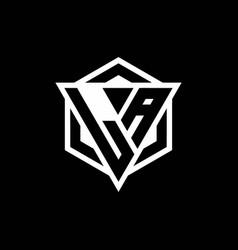 La logo monogram with triangle and hexagon shape vector