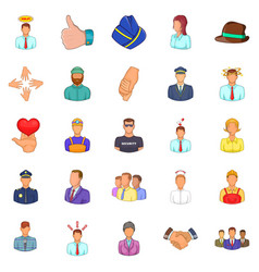Labor resources icons set cartoon style vector