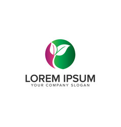 leaf circle logo design concept template vector image