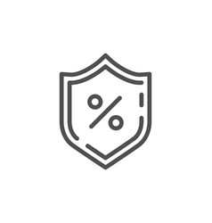 loan percent line icon protection shield sign vector image