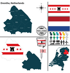 map of drenthe netherlands vector image