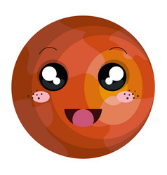 Mars planet kawaii character vector