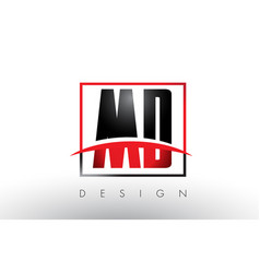 Md m d logo letters with red and black colors and vector
