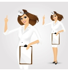 medicine doctor woman with clipboard vector image